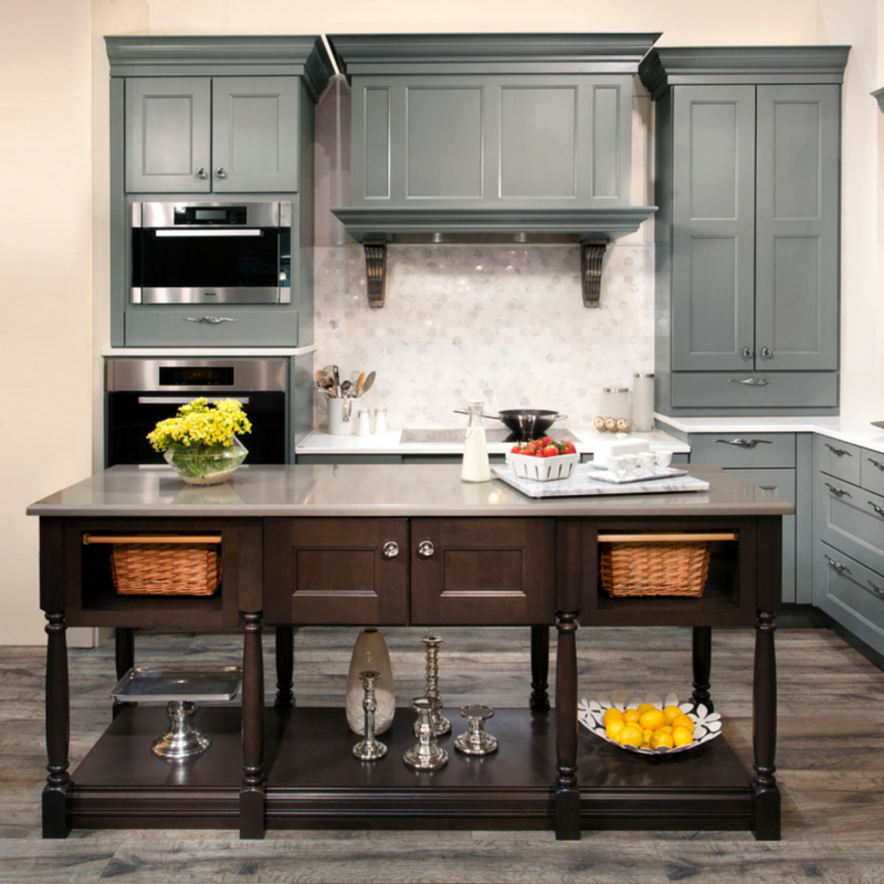 This island, characterized by its unique storage solutions, stands out among the other cabinetry.