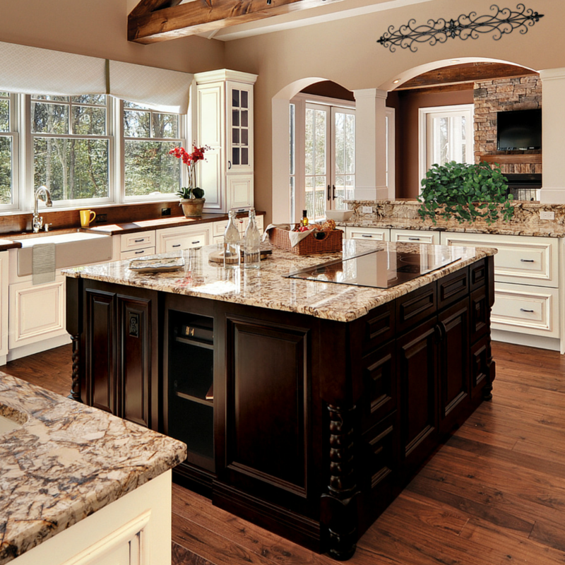 lovely Cooktop In Island Kitchen #10: This island is PERFECT for this large kitchen! A cooktop, storage, and  beauty