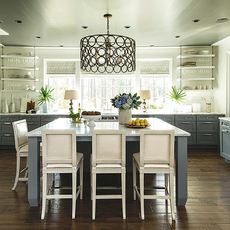 What about an island that doubles as a table? The seating makes this kitchen an inviting room.
