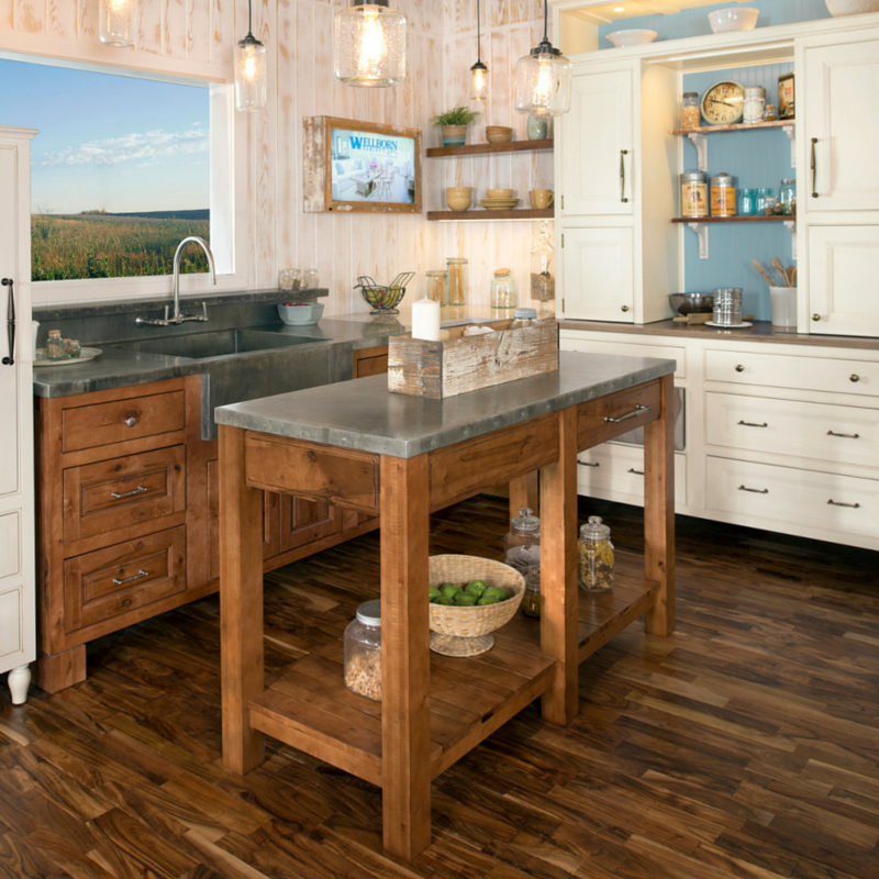 This beautiful custom island is the rustic charm of this kitchen.