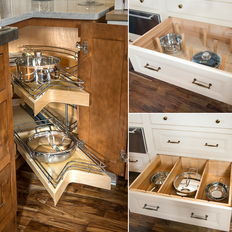 Smart Design with Storage Organization Left (Top): Deep Divider Kit Left (Bottom): Deep Drawer Pegged Dish Organizers Right: Corner Sink Base Cabinet with Kidney Sliding Shelves