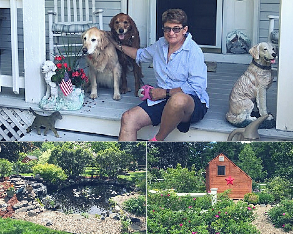 Collage of Myra Muir and her dogs