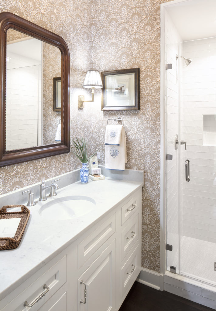 white shaker bathroom cabinets in the 2018 Southern Living Idea House
