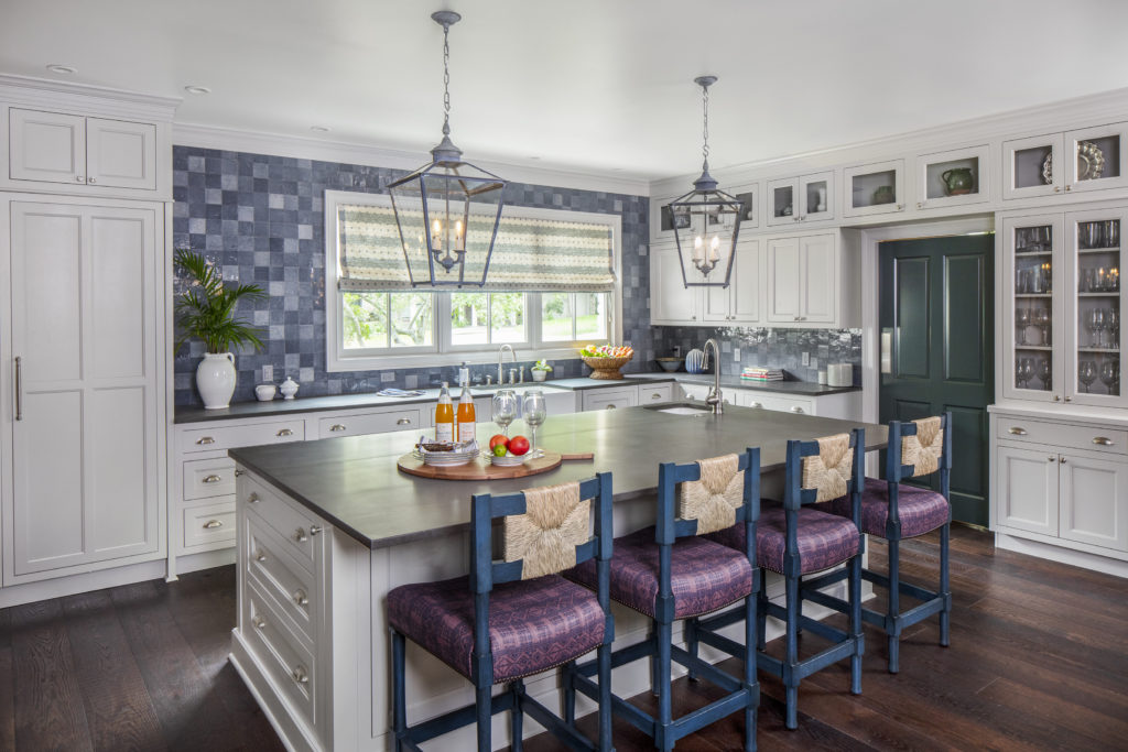 light gray kitchen cabinets with pops of color