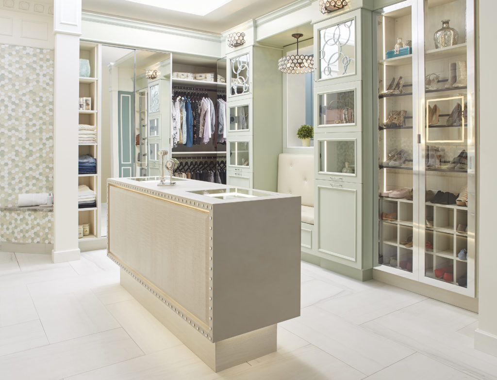 Mint green bathroom and closet cabinetry design
