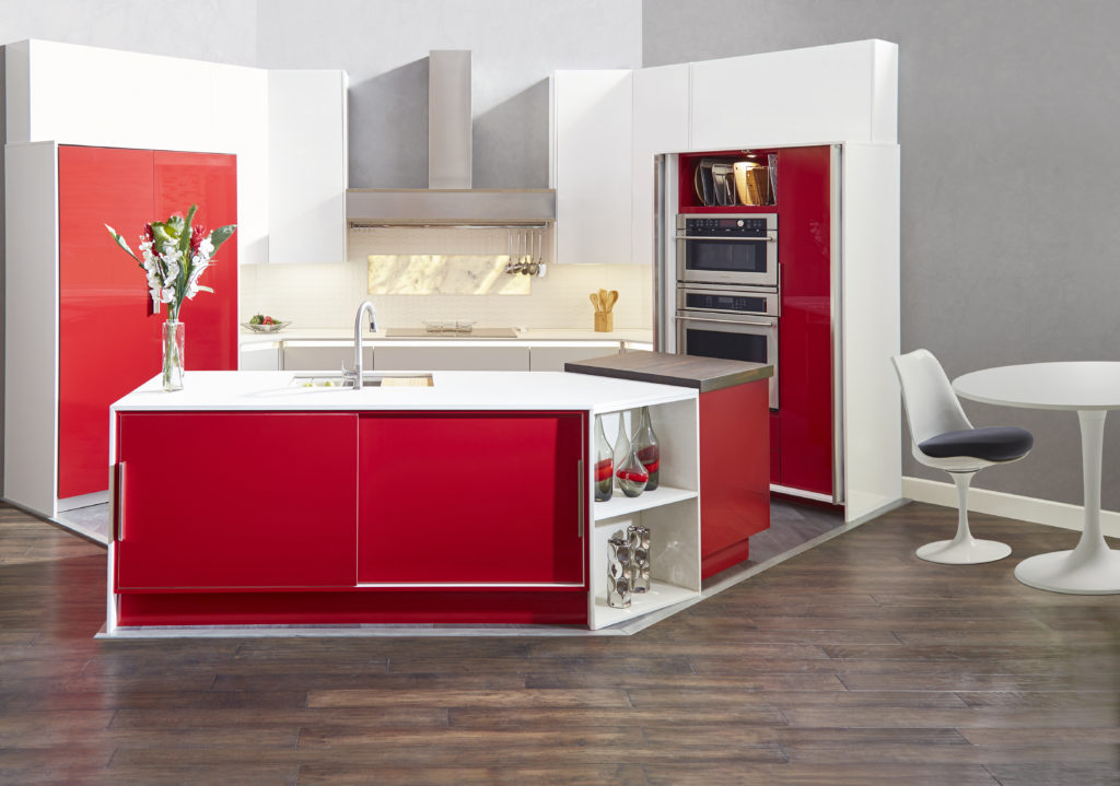 Frameless kitchen cabinets, modern kitchen, red kitchen cabinets, push to open