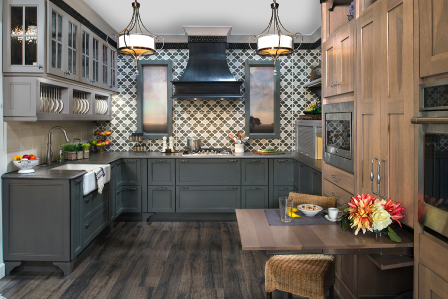 Gray cabinetry finished in willow paint with slate glaze