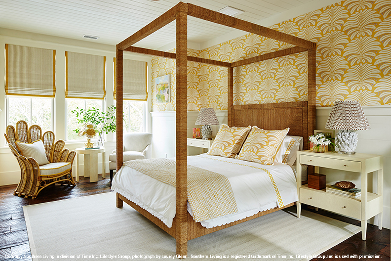 2017 southern living idea house bedroom orange wallpaper