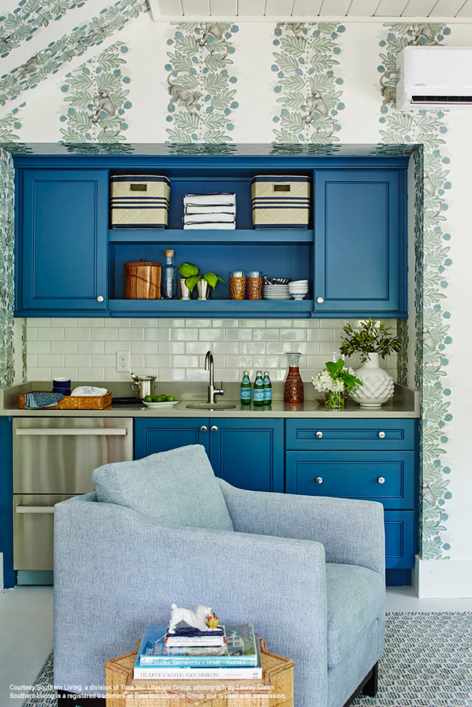 2017 southern living idea house crofter room with blue bar cabinets