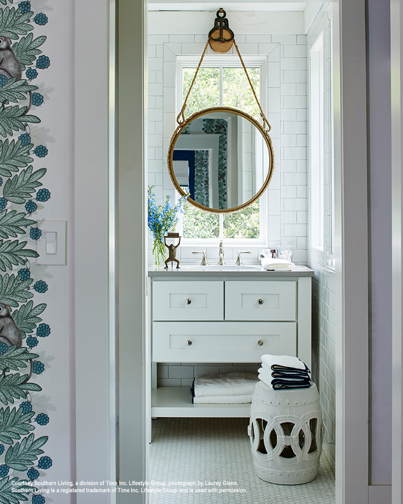 2017 southern living idea house white guest bathroom vanity