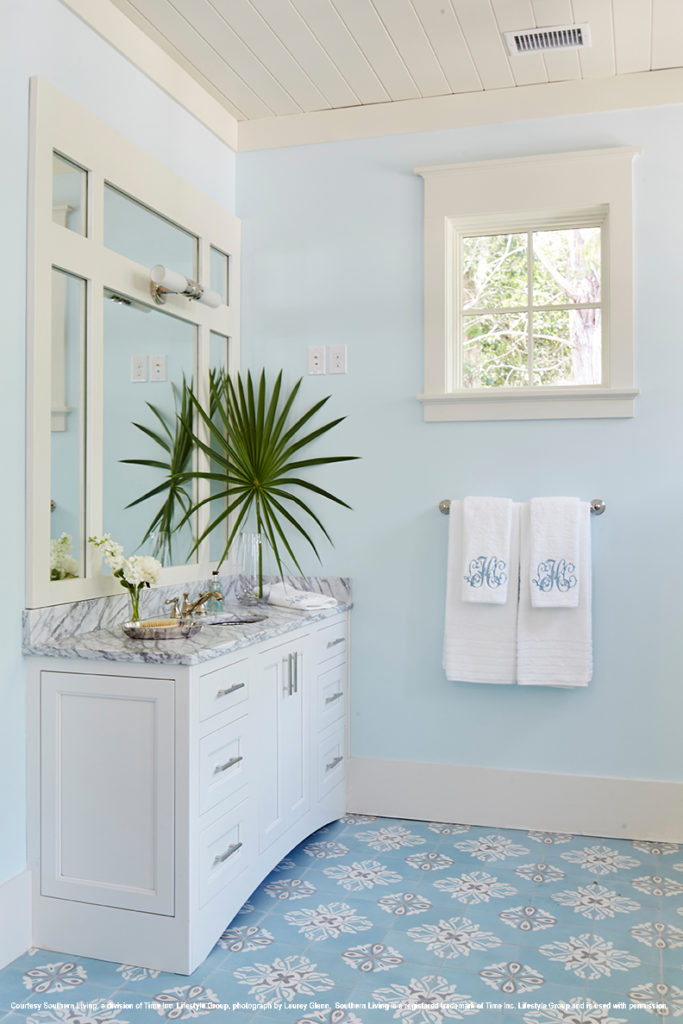 2017 southern living idea house master bathroom white his and her vanity