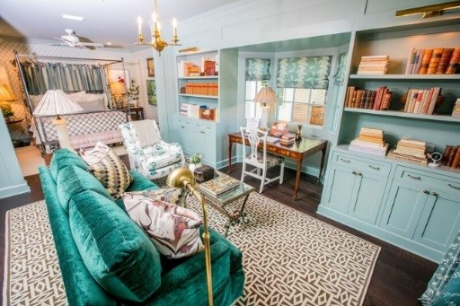 green master bedroom in the 2018 Southern Living Idea House