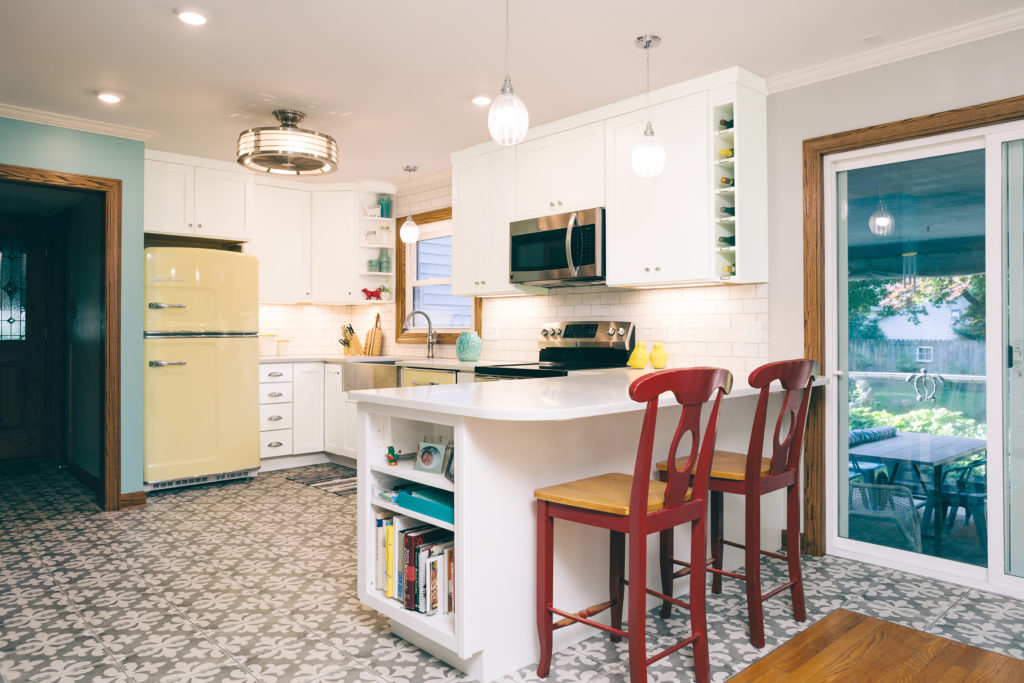 white kitchen cabinetry shaker small kitchen colorful