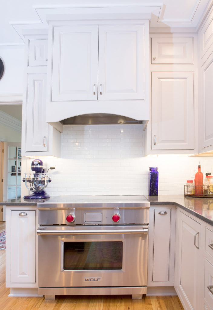 maple inset small white kitchen cabinetry design