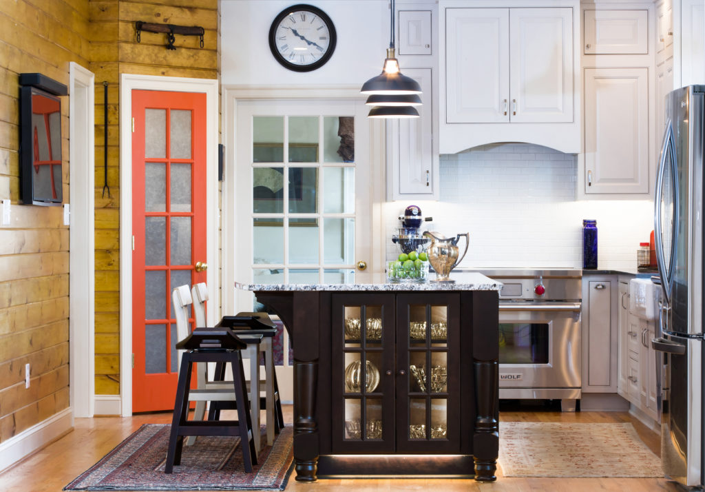 maple inset small kitchen cabinetry design