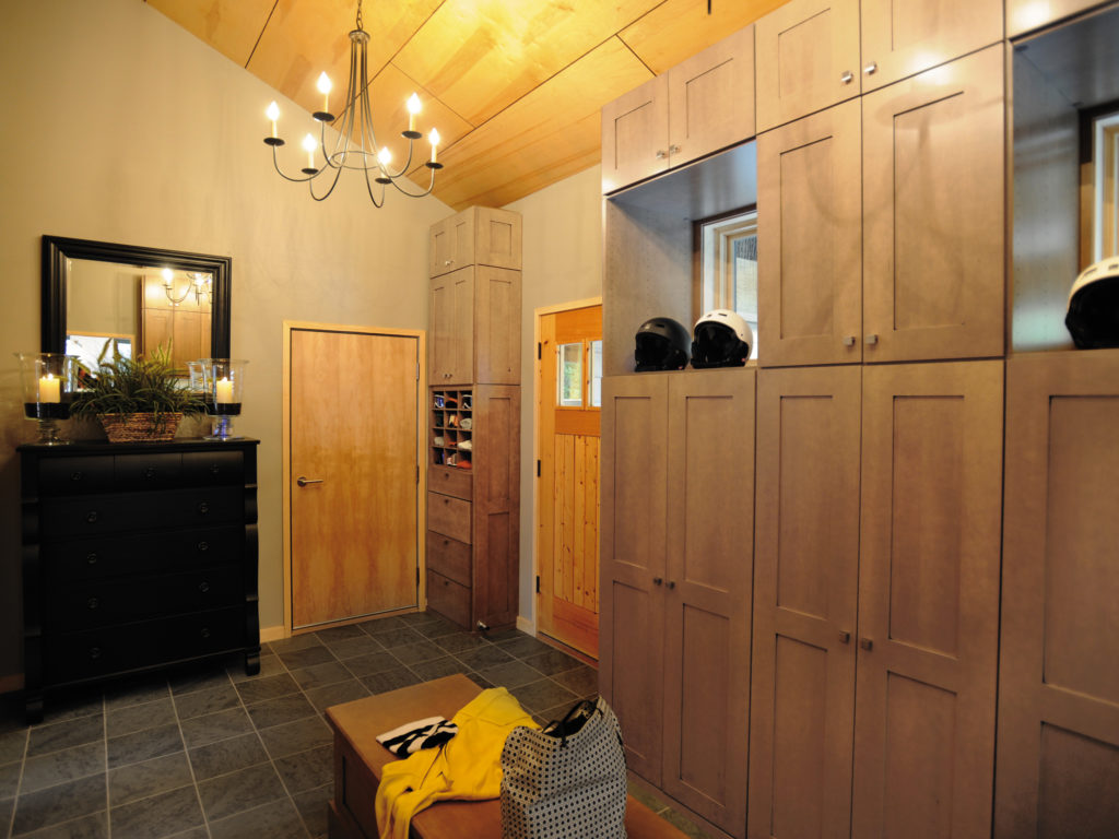 contemporary natural mudroom cabinets