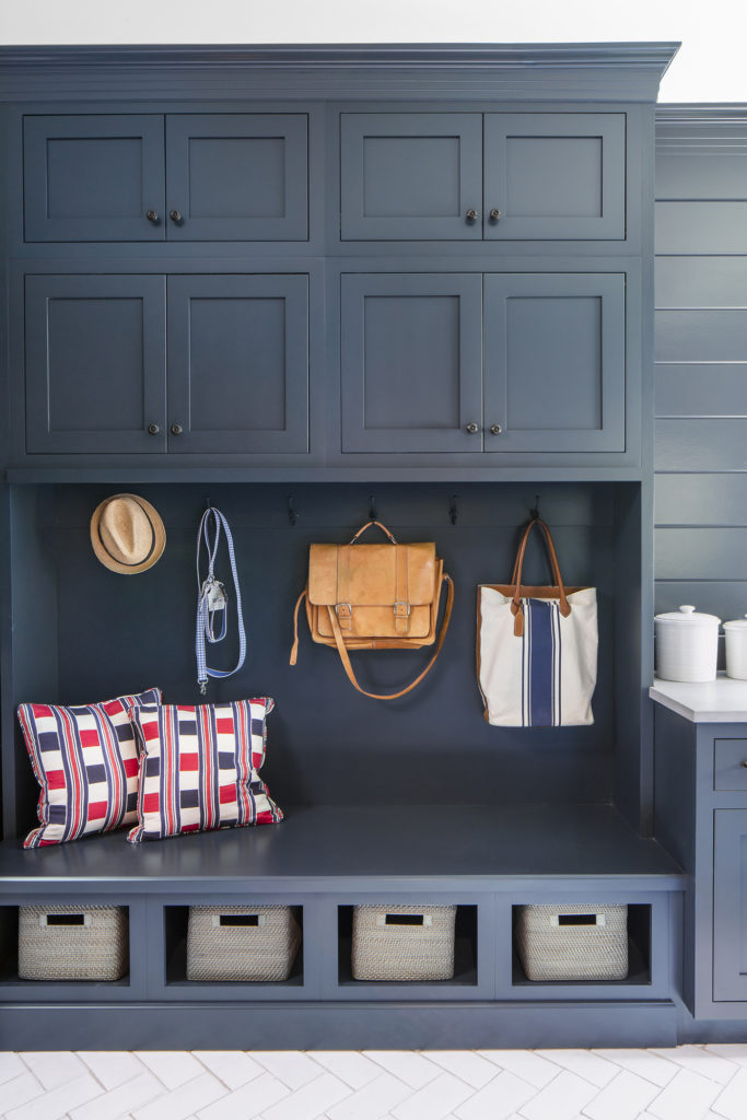 navy shaker mudroom cabinets bench seat tall storage