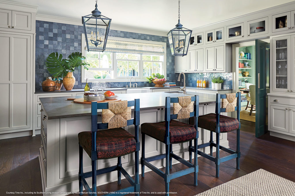grey shaker kitchen cabinets with large island in the 2018 Southern Living Idea House