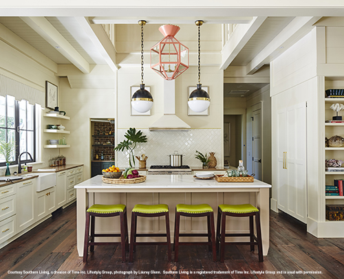 2017 southern living idea house white kitchen cabinets with large island
