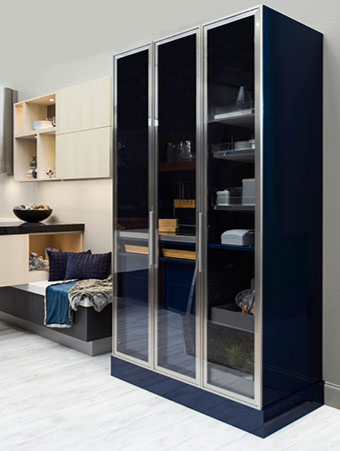 tall cabinet with glass doors