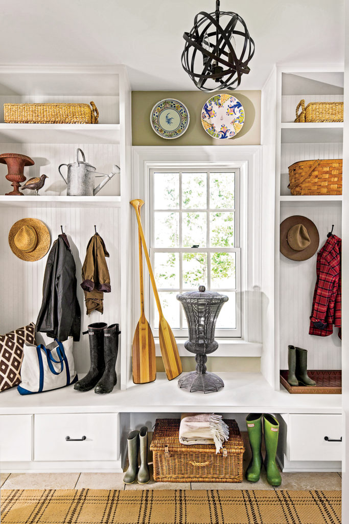 white shaker mudroom cabinets open storage