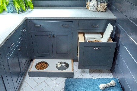 navy shaker mudroom cabinets pet accessories