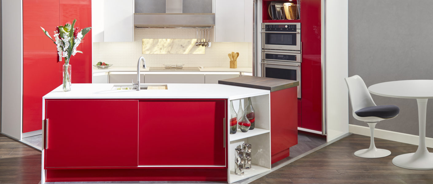 modern red frameless cabinetry