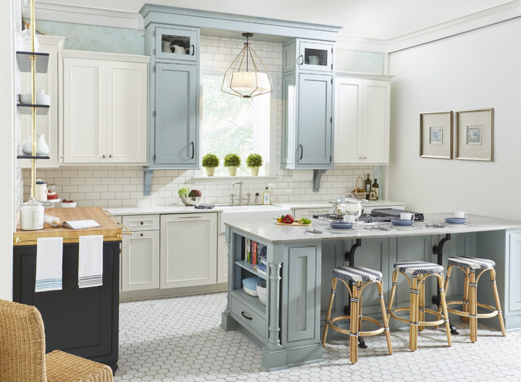 blue and white shaker kitchen cabinets