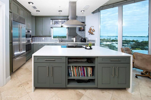 grey transitional kitchen island