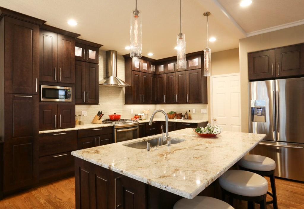cabinetry lighting stained shaker cabinets
