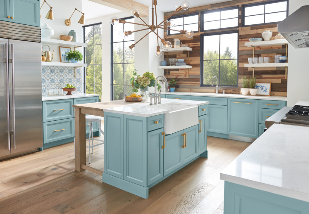 aqua kitchen cabinetry transitional open shelving
