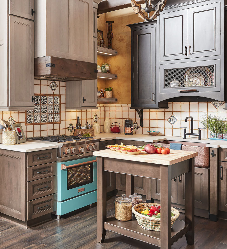 stained kitchen cabinetry with heirloom finish