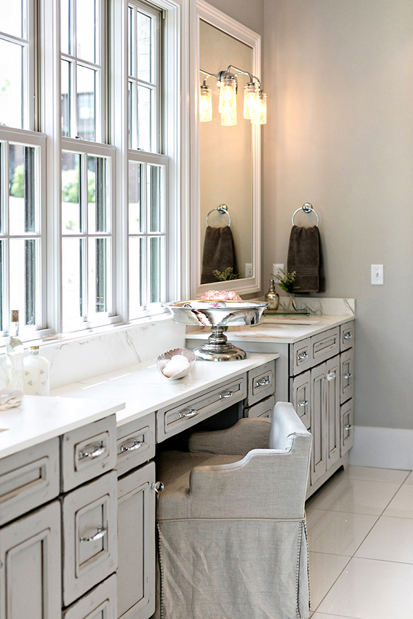 light gray bathroom cabinets and makeup vanity
