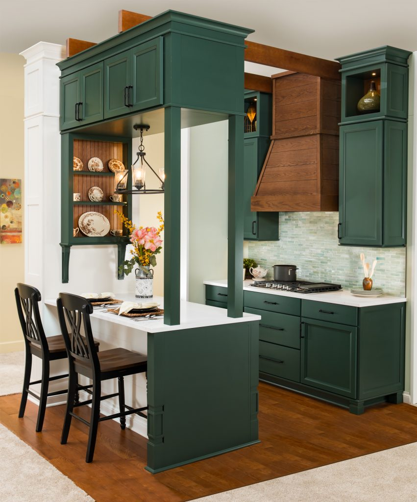 farmhouse cottage kitchen shiplap hood green cabinets