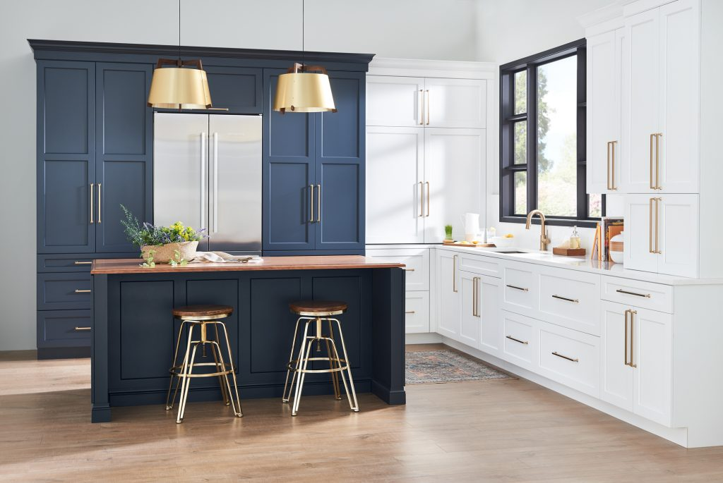 two toned kitchen cabinets navy and white 2020 color trends