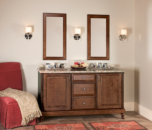 modern stained double vanity