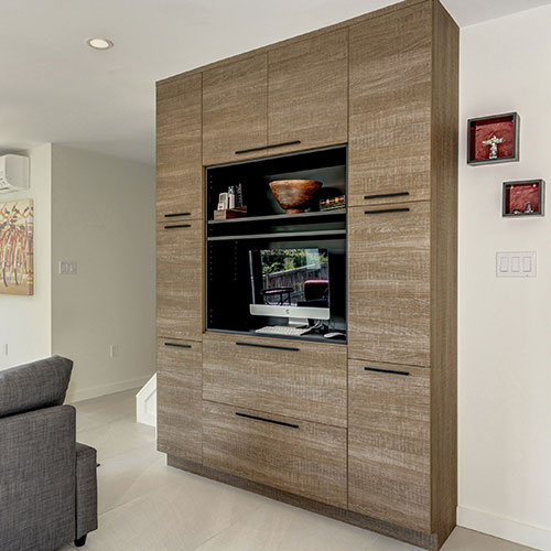 Contemporary Bel-Air frameless computer or TV wall storage cabinet with Putty Oak Heavy Textured Melamine finish