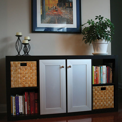 Dining Room Credenza Buffet Sideboard features metal doors with Platinum Ice Acrylic Inserts