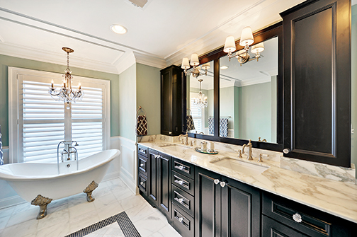 bathroom remodel dark stained cabinets