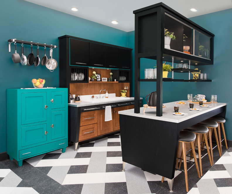 Bright blue ice box in a black and hazelnut kitchen