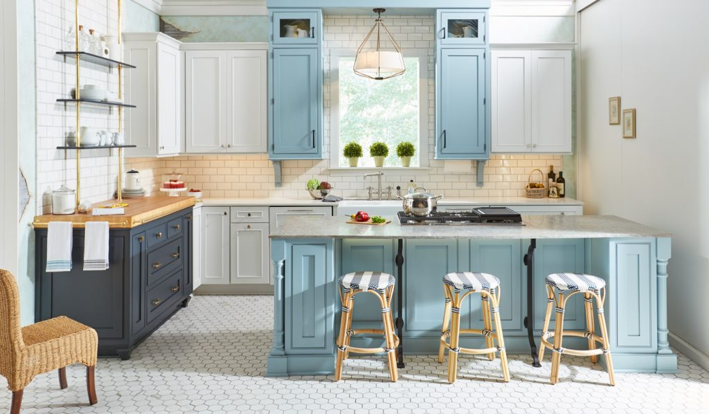 Light blue and white shaker kitchen cabinets and island
