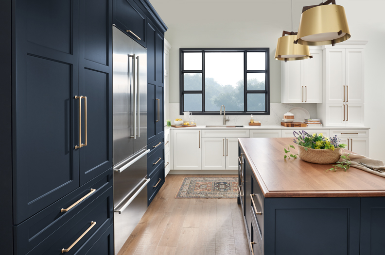 Dark Blue tall cabinets and Island cabinetry